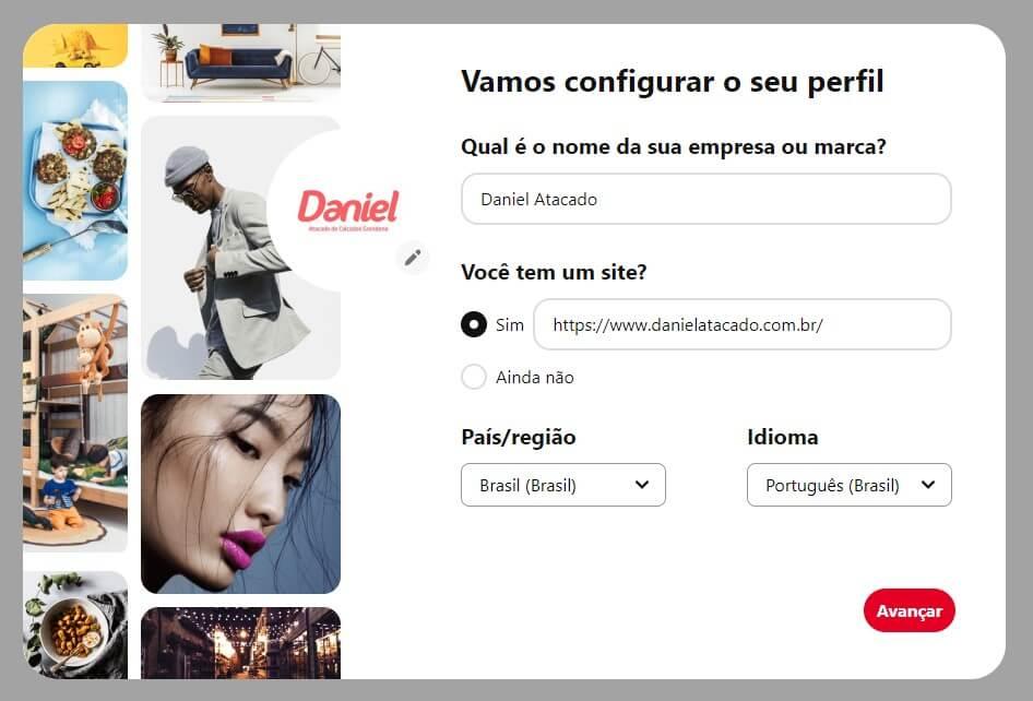 Página para inserir informações sobre a conta empresarial no Pinterest.