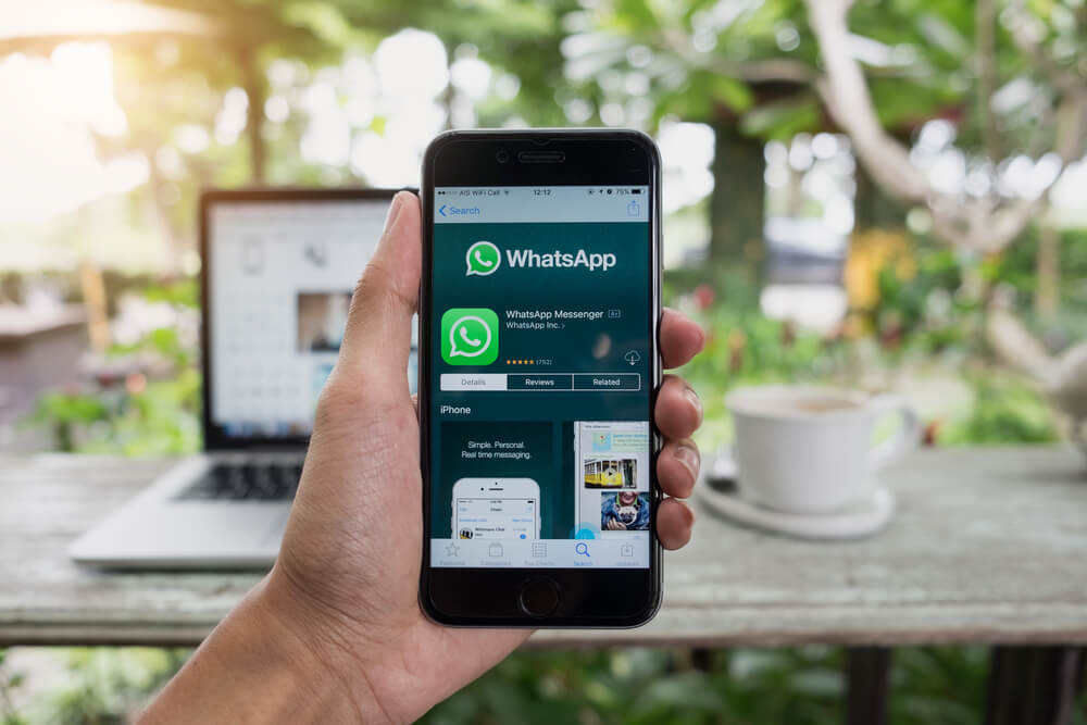Pessoa segurando um celular com o WhatsApp Business aberto, em um café.