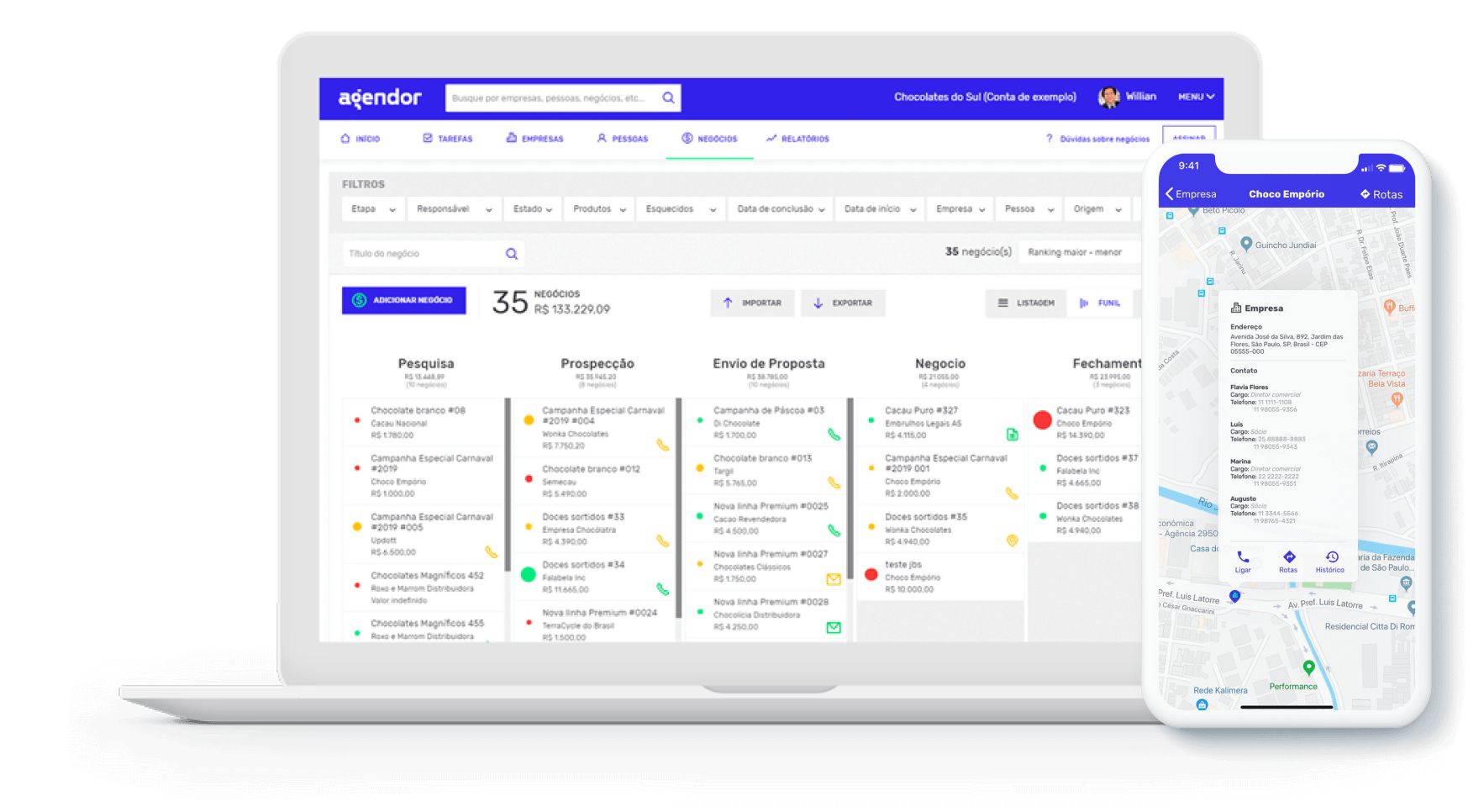 Página inicial do software de gestão de relacionamento com o cliente Agendor.