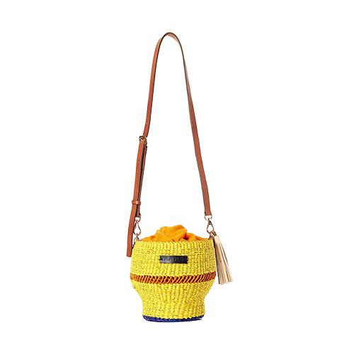 AAKS Baw Pot Yellow Orange Striped Shoulder Bag