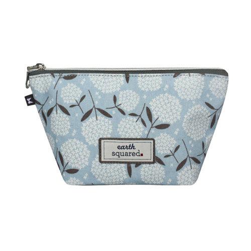 Blue Bloom Oval Print Oilcloth Makeup Bag
