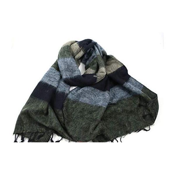 Charcoal Striped Nepalese Yak Wool Shawl