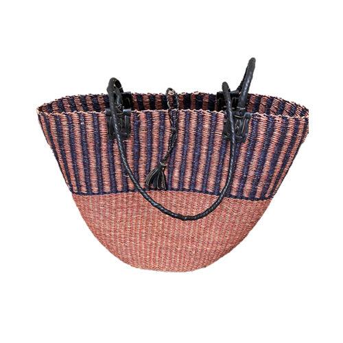Fairtrade Ghana Ginger Black Bolga Basket Shoulder Bag