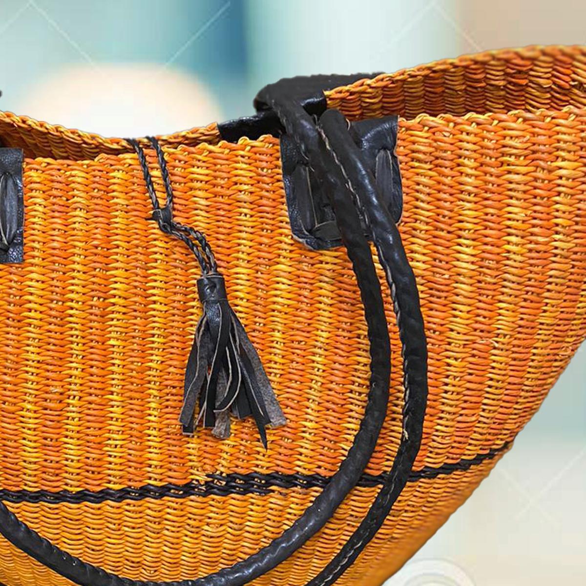 Fairtrade Ghana Orange Bolga Basket Shoulder Bag