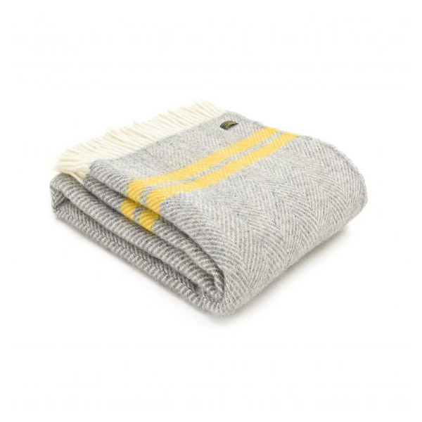 Fishbone 2 Stripe Silver Grey & Yellow Wool Throw