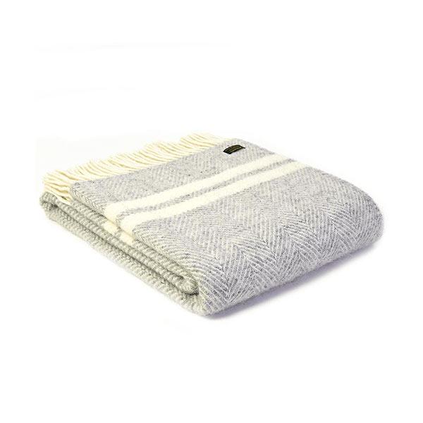 Fishbone 2 Stripe Silver Grey & Cream Wool Throw