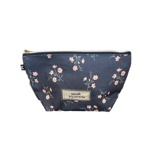 Navy Floral Oilcloth Makeup Bag