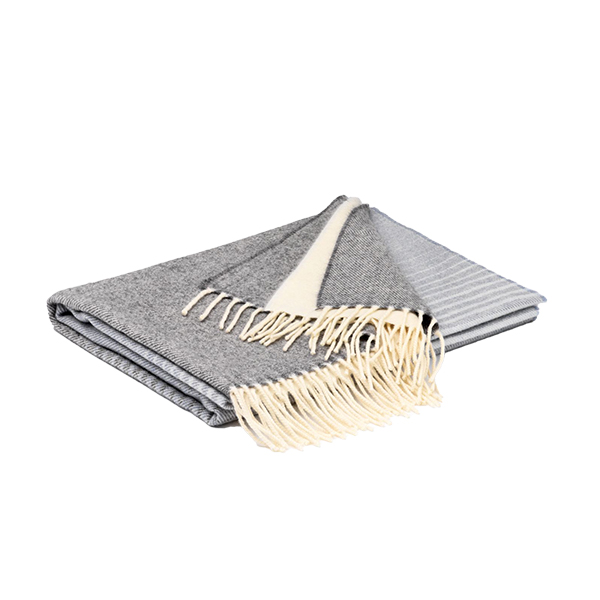 Grey Striped Lambswool Pashmina