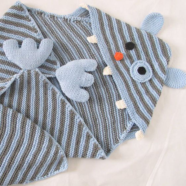 Hand Knit Cotton Blue Baby Blanket