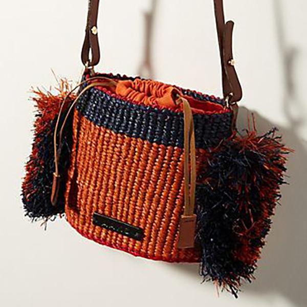Hani Raffia Ruffle Shoulder Bag