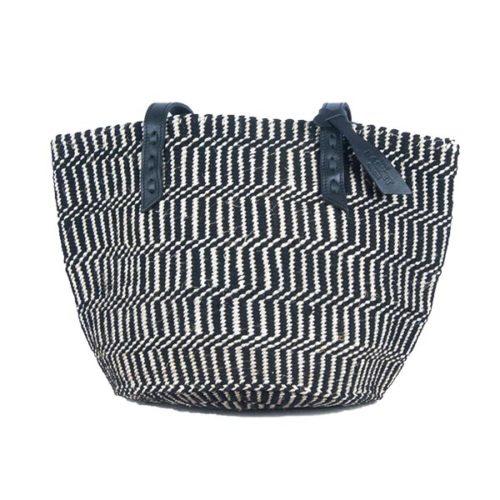 Handmade Kenyan Wool and Sisal Black and White Handbag