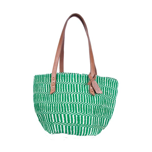 Green & White Kenyan Sisal Bag