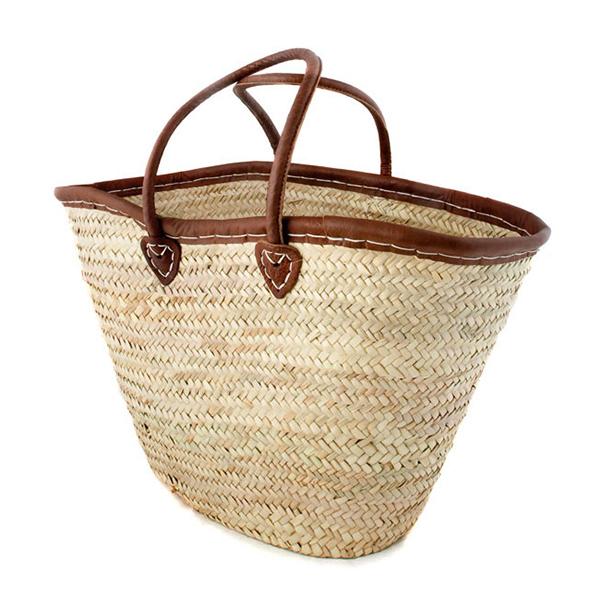 Medium-Sized Leather Trim French Basket