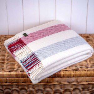 Fishbone Berry Stripe Wool Throw