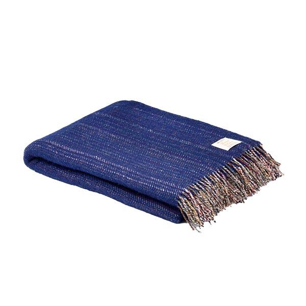 Mcnutt Pure Wool Navy Blue Throw