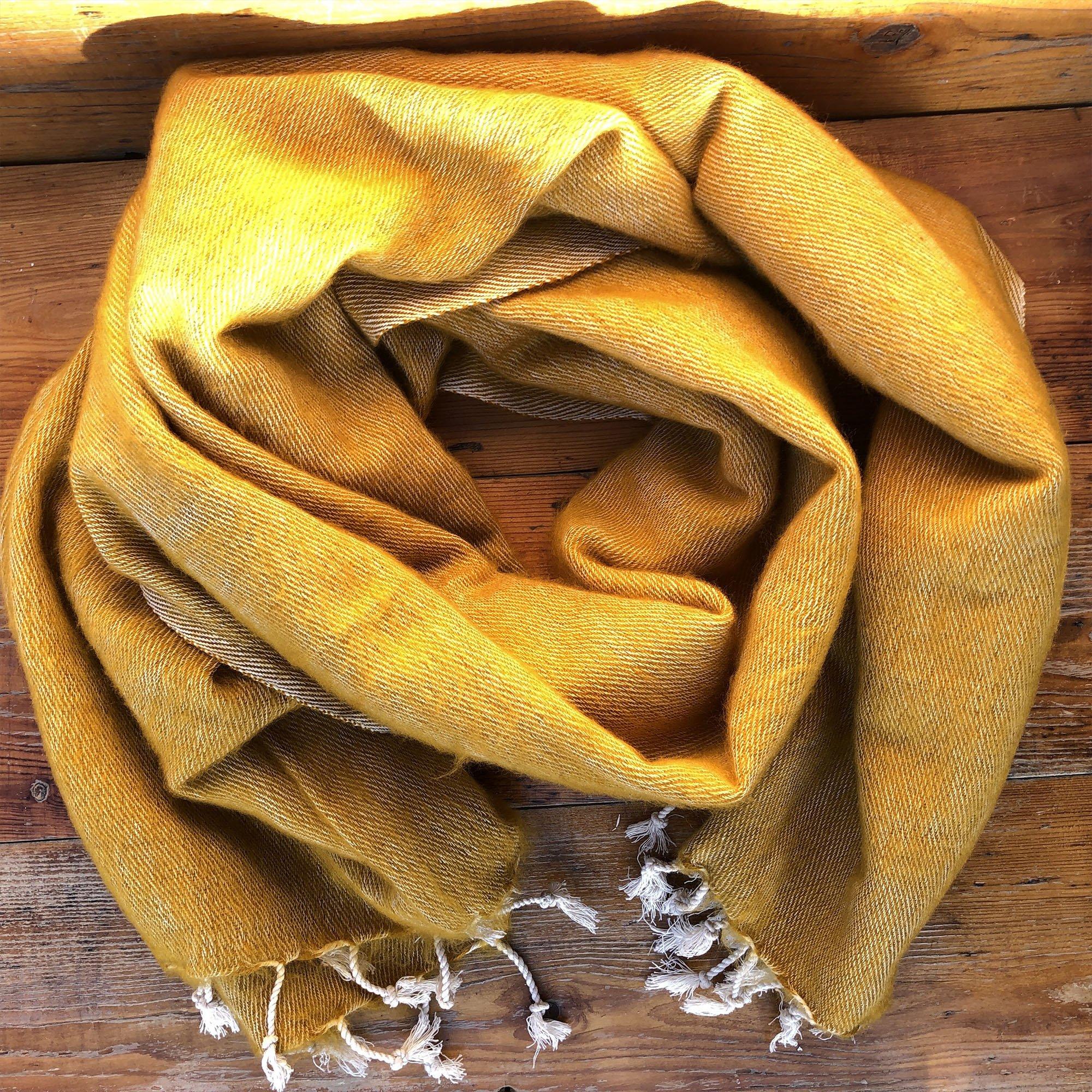 Mustard Yellow Handmade Nepalese Yak Shawl