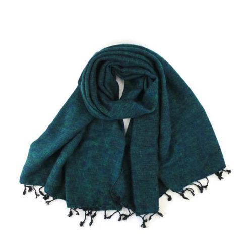 Green Blue Handmade Nepalese Yak Shawl