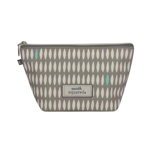 Grey Oval Print Oil Cloth Makeup Bag