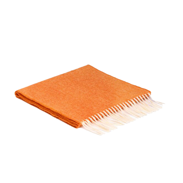 Orange Lambswool Herringbone Scarf