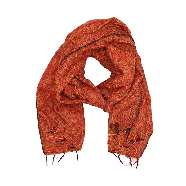 Orange Nepalese Yak Wool Shawl