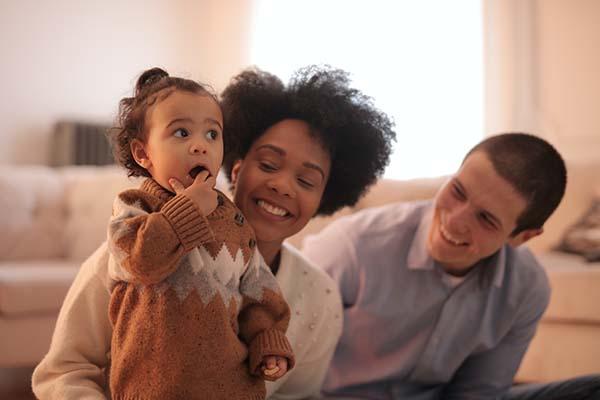 Family enjoying sustainable clothing