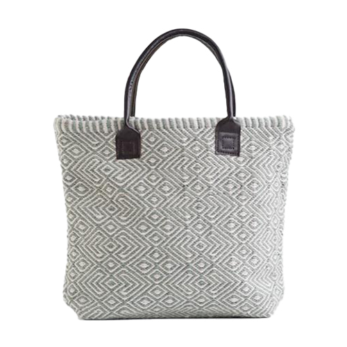 Recycled Plastic Bottle Handwoven Provence Dove Grey Tote Bag