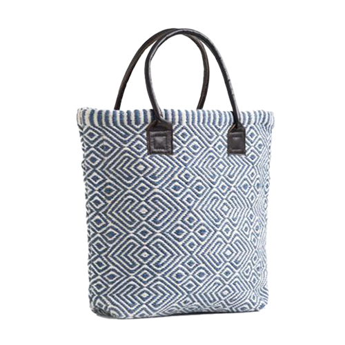Recycled Plastic Bottle Handwoven Provence Navy Tote Bag