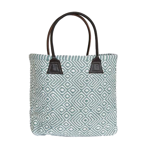 Recycled Plastic Bottle Handwoven Provence Teal Tote Bag
