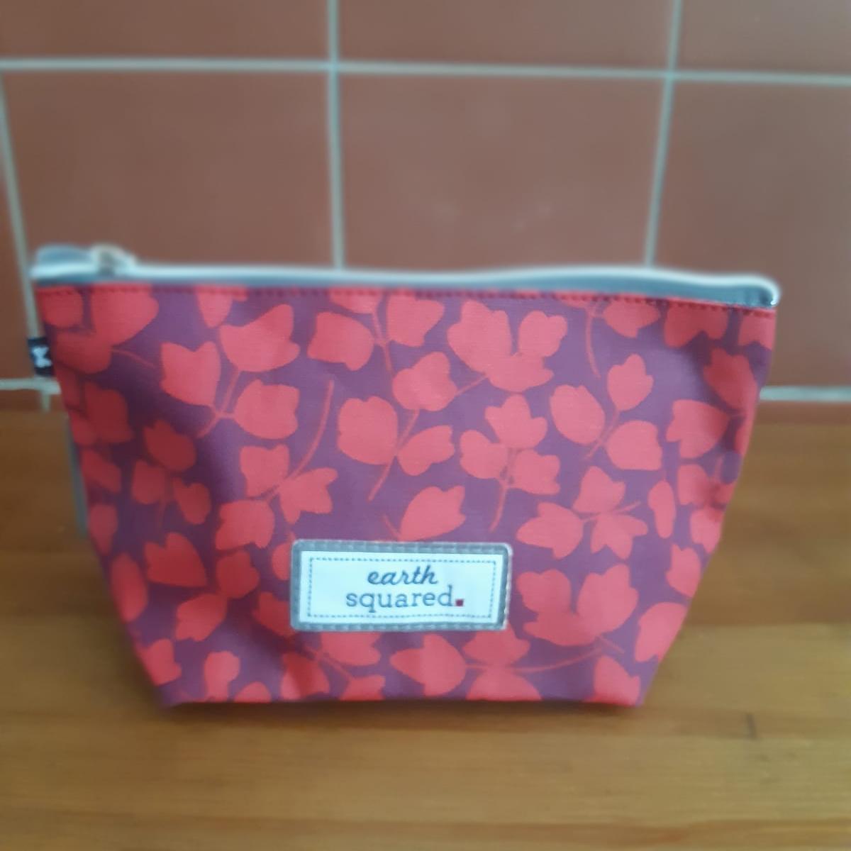 Red Flower Oil Cloth Makeup Bag