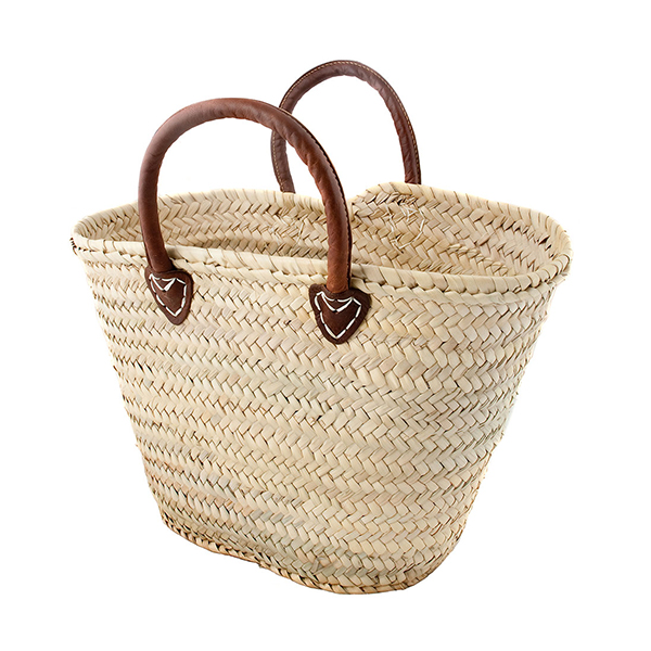 Palm Leaf Round Handle French Market Basket