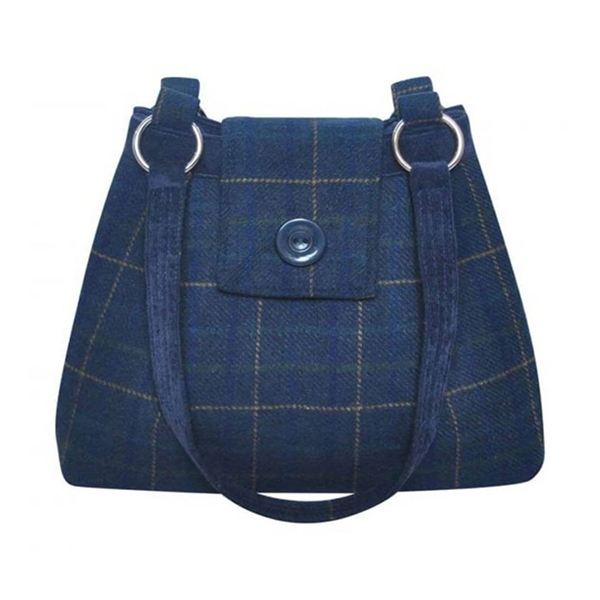 Tweed Ava Navy Shoulder Bag