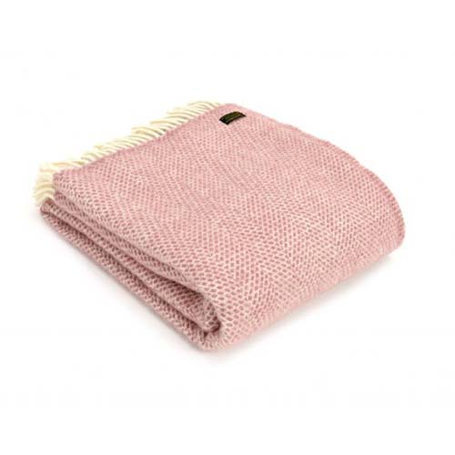 Tweedmill Beehive Dusty Pink Pure Wool Throw