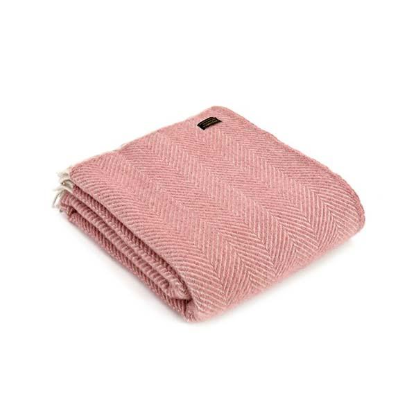 Fishbone Dusky Pink Wool Throw