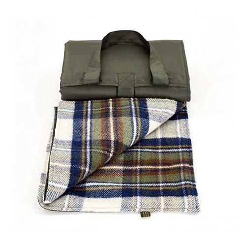 Waterproof Backed Green Wool Picnic Rug