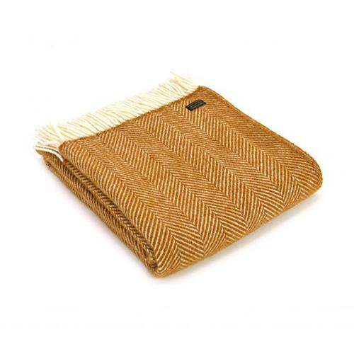 Tweedmill Fishbone English Mustard Pure Wool Throw