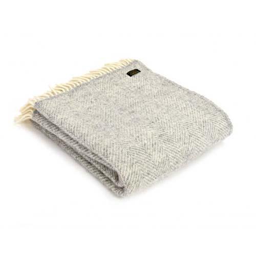 Tweedmill Fishbone Silver Grey Pure Wool Throw