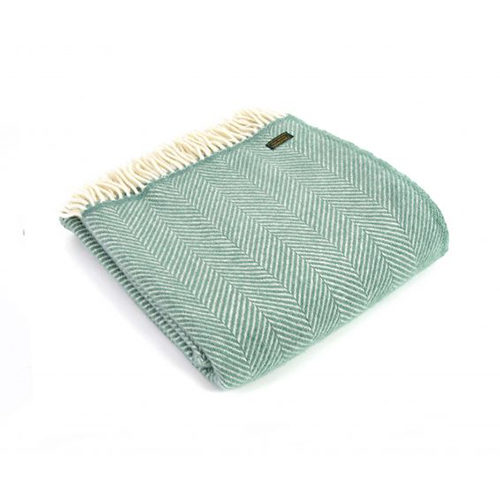 Fishbone Sea Green Wool Throw