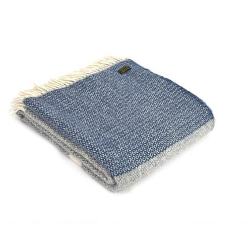 Tweedmill Illusion Panel Blue Slate Wool Throw