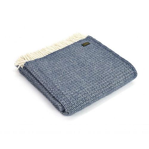 Illusion Navy Blue Wool Throw