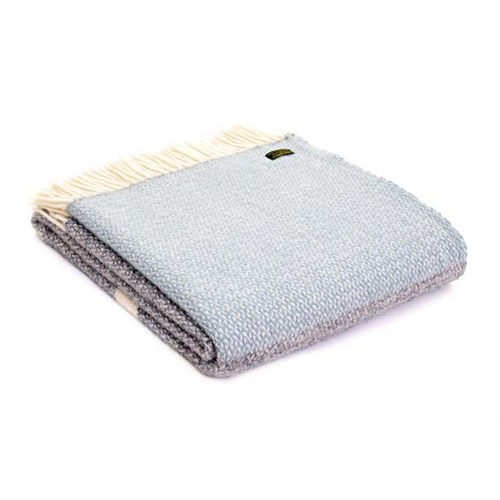 Tweedmill Illusion Panel Duck Egg Pure Wool Throw