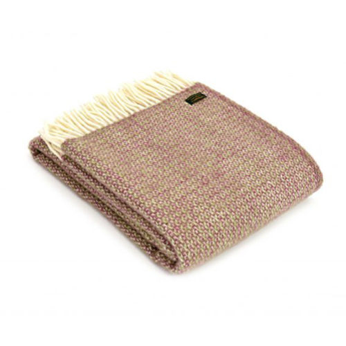 Illusion Raspberry Pure Wool Blanket Throw