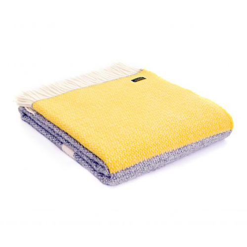 Tweedmill Illusion Panel Yellow Pure Wool Throw