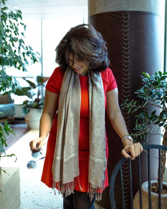 Women Wearing Wool Scarf