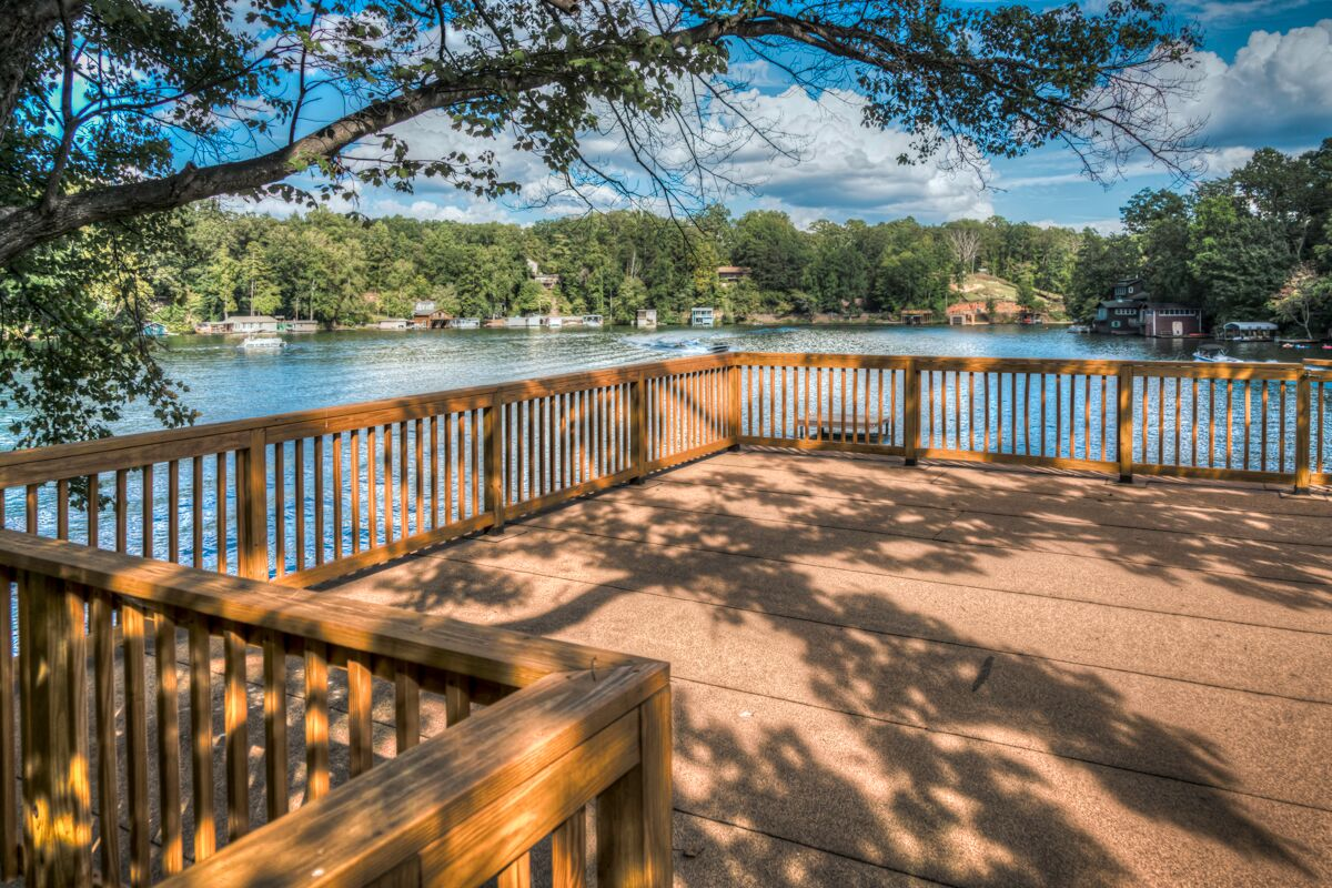 Tryon Builders custom boathouse deck with view of Lake Lanier