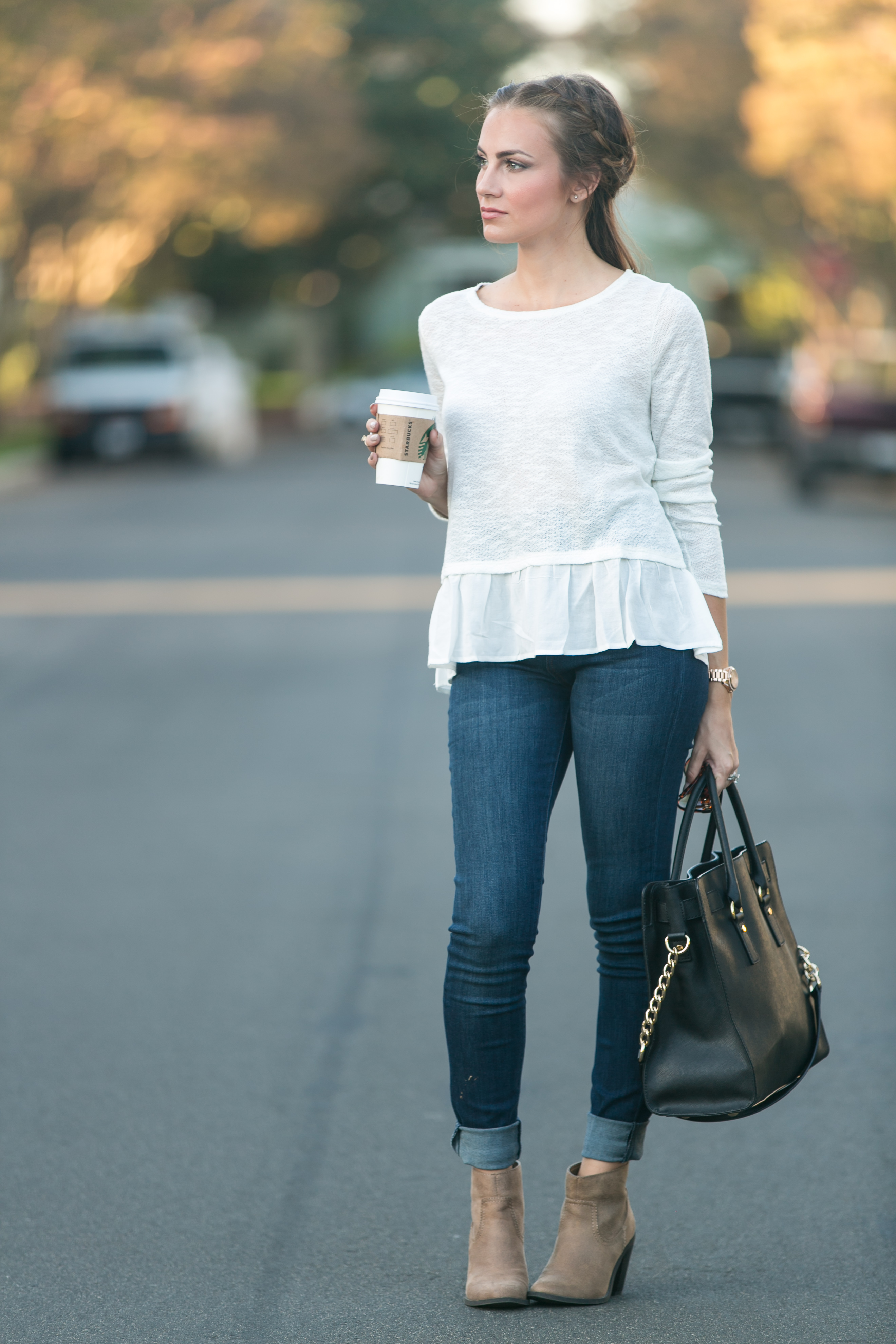 ruffle hem forever 21 sweater fall outfit angela lanter hello gorgeous