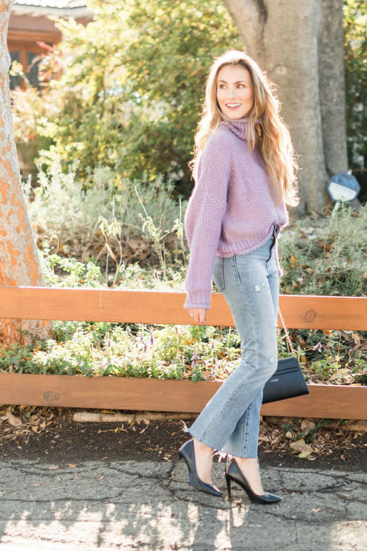 Anthropologie Sweater, Levi's Kick Flare Jeans, Black Pumps (SO comfy!),Henri Bendel Marquis Convertible Clutch. Angela Lanter Outfit - Hello Gorgeous Blog.