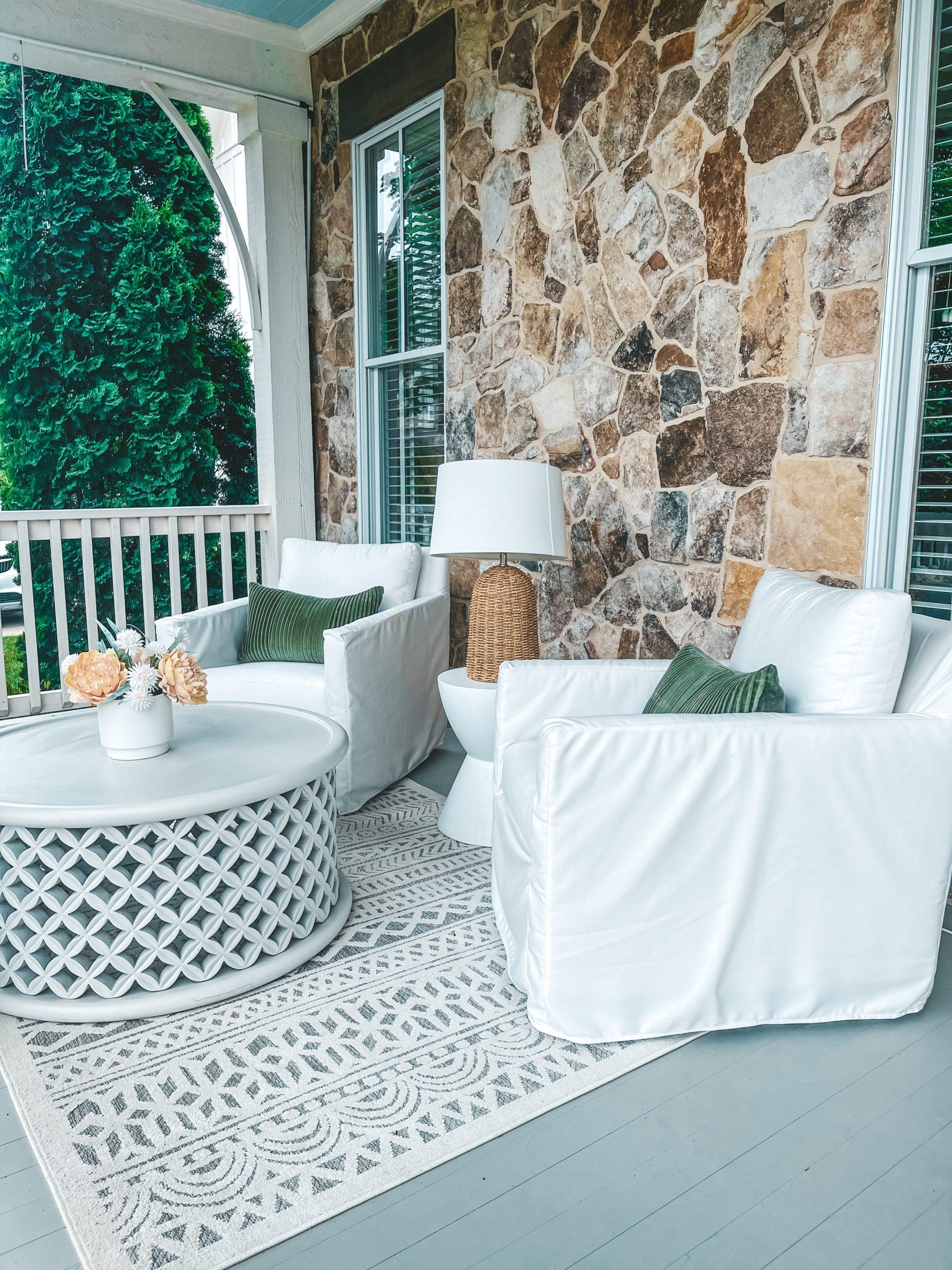 pottery bar Primave Indoor/Outdoor Rug - Light Blue patio decor angela lanter home