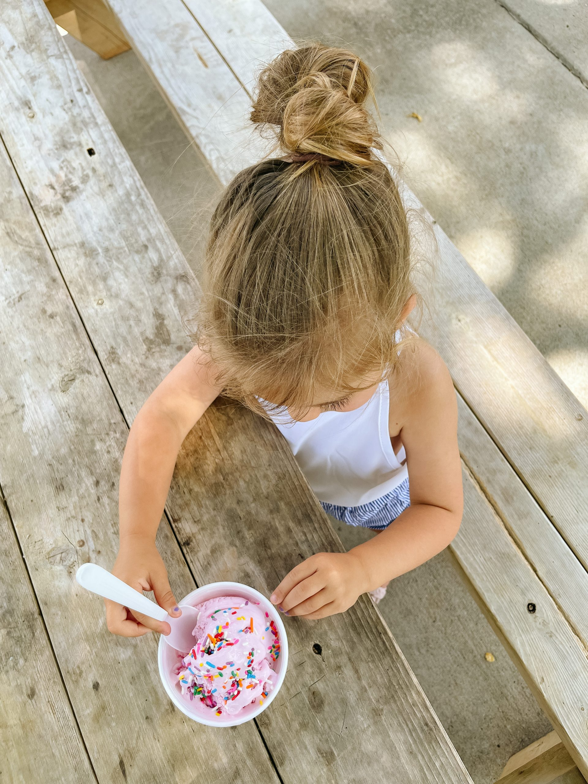 Nash Family Creamery Chapel Hill, TN MacKenlee Lanter pink ice cream sprinkles amazon 3T outfit Angela Lanter