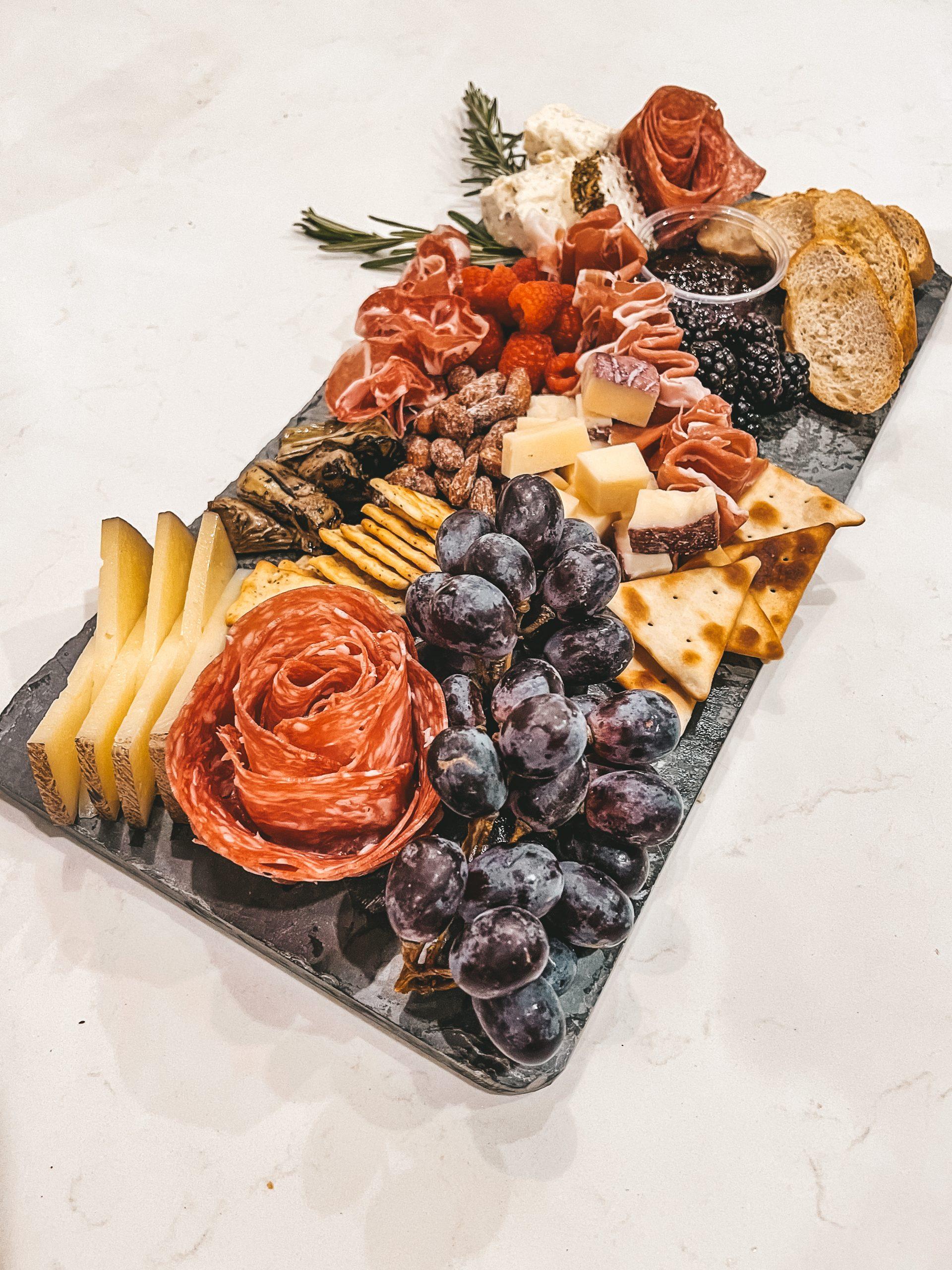 slate cheese charcuterie board fruit crackers Boursin cheese angela lanter