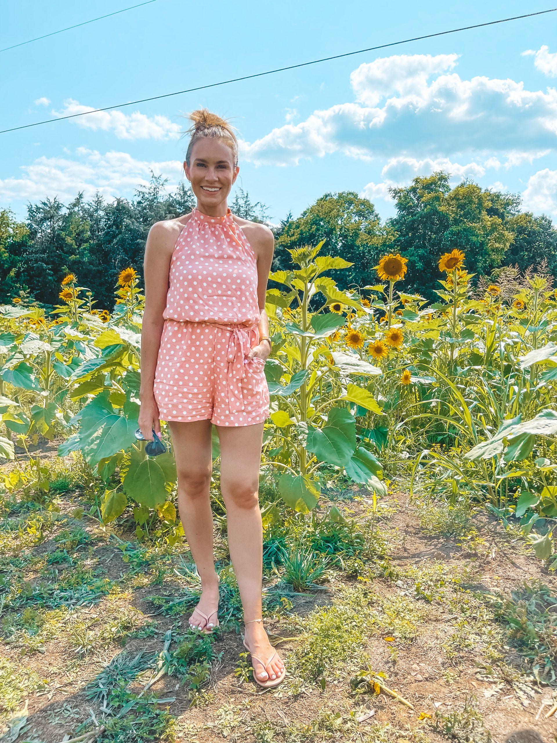 amazon polka dot romper tkees flip flops sunflower field angela lanter